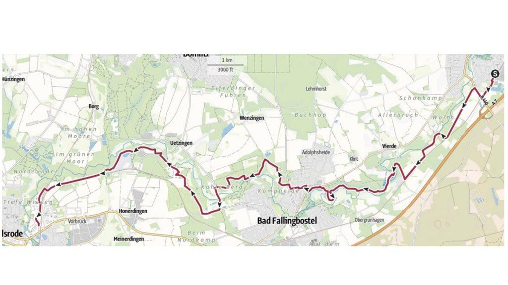 eine Jetztaberlos-Tour, Wanderstfrecke von Dorfmark über Bad Fallingbostel nach Walsrode. Rund 20 km durch die Heide und am Wasser