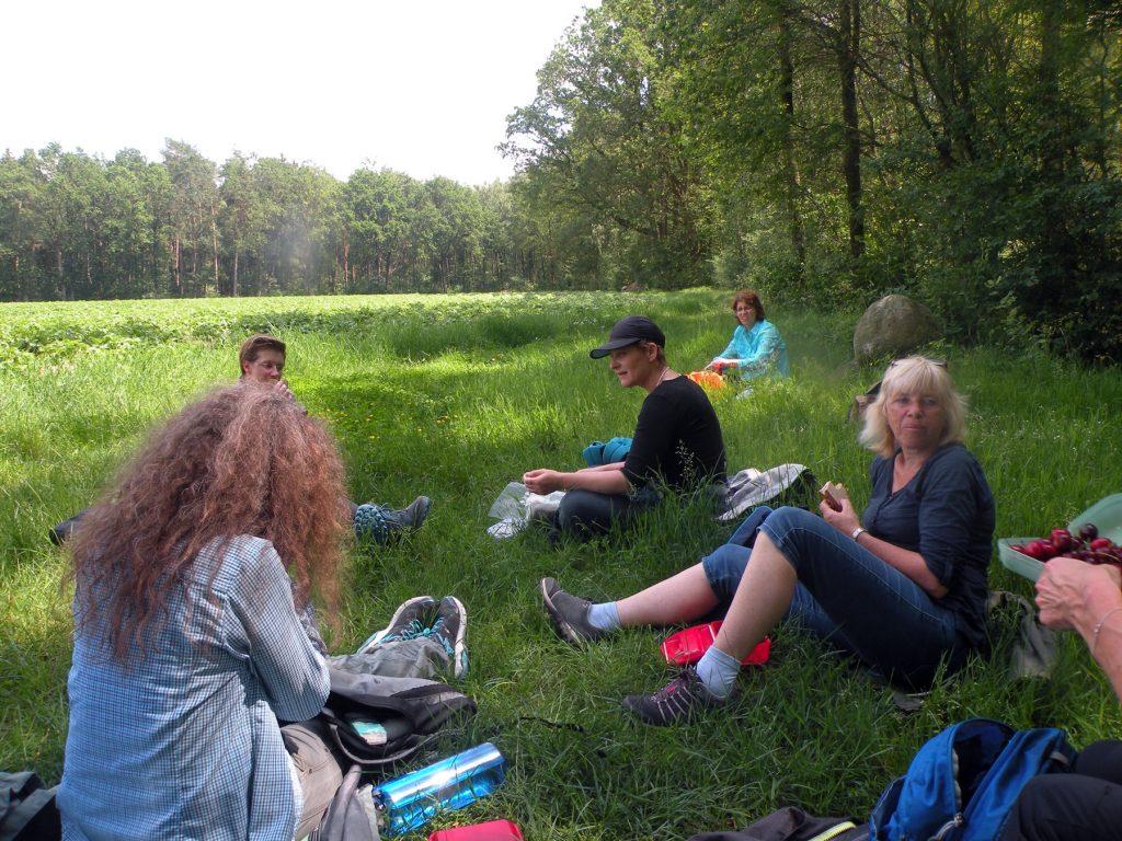 eine jetztaberlos-tour auf dem Freudenthalweg von Dorfmark nach Walsrode, hier Pause am Wegesrand kurz vor Bad Fallingbostel