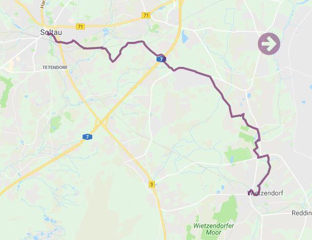 Streckenverlauf der Wanderstrecke Heidschnuckenweg von Wietzendorf nach Soltau