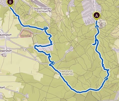 Streckenverlauf der gewanderten Tour, Schwarze Berge, Wulmstorfer Heide, Neu Wulmstorf