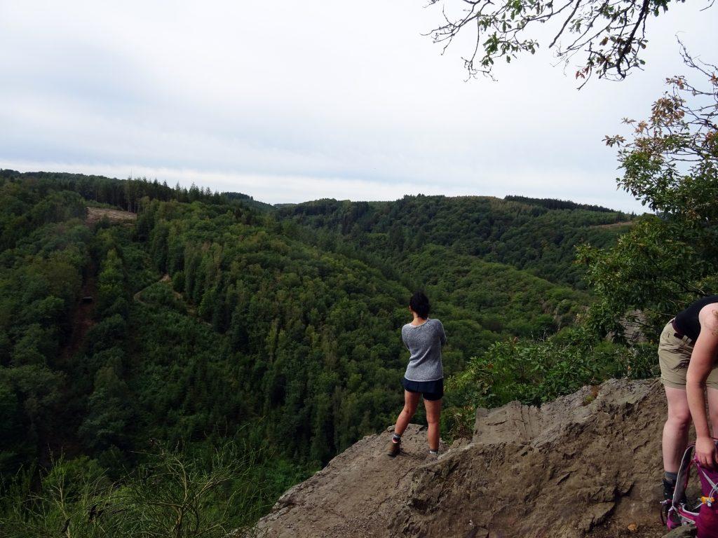 Hier ist Lizzy auf dem Herou Felsen und geniesst den Blick ins Tal der Ourthe