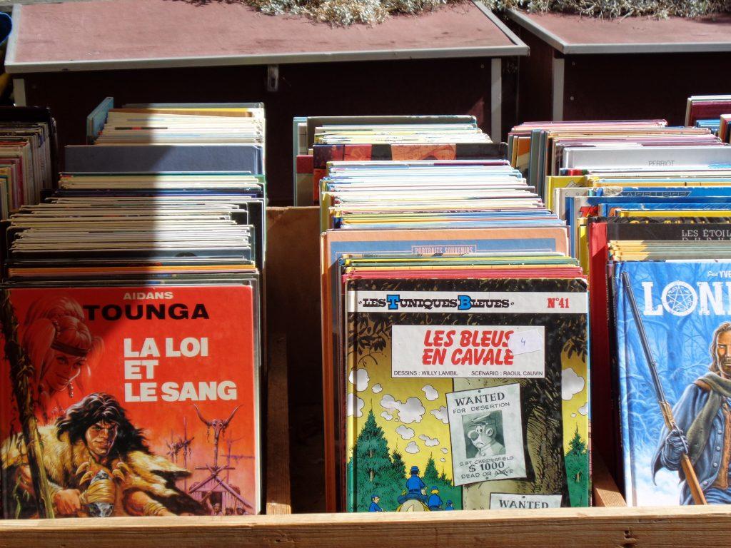 Comic satt, in französisch, sieht toll aus, ein Paradies für Comic Fans. Auf einer Singlewanderland Tour geshen